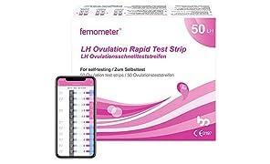 Femometer 50 Pruebas de Ovulación 20 mIU/ml y, Resultados Precisos con la App (iOS & Android) Reconocimiento Automático de los Resultados de las Pruebas