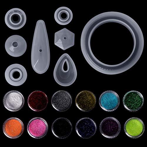EAPTS 1 Satz Epoxidharz Kit DIY Schmuckherstellung Werkzeuge Glitter Pulver Bunte 12 Farben Halskette Anhänger Ring Handgemachte Silikonform Professionelle Entdeckungen Gießformen (Professionelle Silikonform)