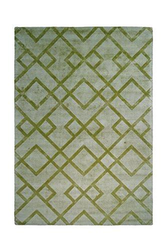 Teppich Wohnzimmer Carpet Geometrie Design Luxury 310 Rug Netz Muster Viskose 160x230 cm Grün/Teppiche günstig online kaufen