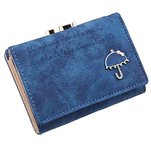 Donne Breve Mini Pulsante Borsa Portafoglio borsa della moneta Rosa Scuro Blu