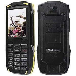 """【2019】Blackview BV1000 Rugged Smartphone da 3000mAh, 32GB Espandibili, Triplo Slot 2 Micro SIMs+1 MicroSD, Fotocamera 0.3MP, 2.4"""" Telefono Cellulare per Anziani, Grande Oratore/LED/FM Radio/SOS-Giallo"""
