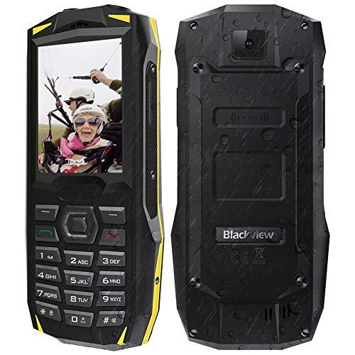 【2019】Blackview BV1000 Rugged Smartphone da 3000mAh, 32GB Espandibili, Triplo Slot 2 Micro SIMs+1 MicroSD, Fotocamera 0.3MP, 2.4' Telefono Cellulare per Anziani, Grande Oratore/LED/FM Radio/SOS-Giallo