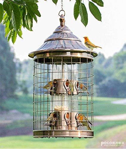Realsun Hanging Squirrel Proof Bird Feeder Station Table Seed Station Garden Caged Bird Feeder