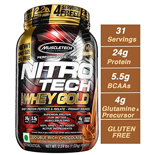 Muscletech Performance Series Nitro Tech 100% Whey Gold, Double Rich Chocolate, 1134 g (100 Pro Whey Performance Protein)