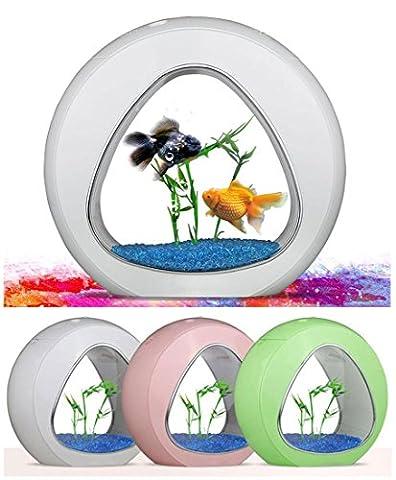 USB mini Aquarium Fish Tank, atmosphère chaleureuse lumière LED Bureau poisson Globe pour bureau chambre salon bureau Decor , white , s