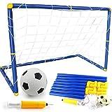 Eizur Mini Fußballtor Set Faltbar Fußballtor mit Fußball, Netz und Pumpe Fußball Spiel Faltbares für Kinder (60 x 32 x 47cm)