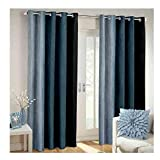 Generic Nikunj Fab Long Crush Polyester Blend Solid Door Curtains (Grey, 7ft) -Set