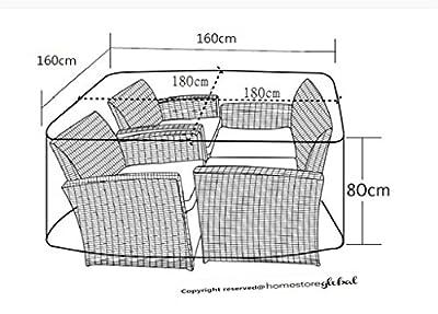 HomeStore Global Abdeckung für große Rattan Gartenmöbell / Cube mit runden Ecke Abdeckung in Holzkohle - Dick und dauerhafte Qualität 600D Polyester Leinwand, all-wetterfest und Feuchtigkeit