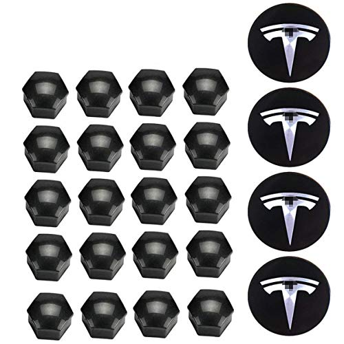 Kraumi Radnabenkappen, Aero-Radkappensatz für Tesla Model 3, S & X(4 Nabenmittelabdeckung + 20 Radmutternabdeckung) (Silber)