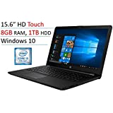 "2018 HP 15.6"" Touchscreen Laptop PC, Intel Core I3-7100U, 8GB DDR4, 1TB HDD, Intel HD Graphics 620, 802.11ac, Bluetooth, DVD RW, USB 3.1, HDMI, Webcam, Windows 10 Home, Jet Black"