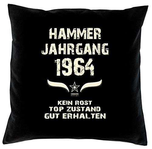 Cuscino con imbottitura, colore: nero, hammer anno gang, regalo unico per ° compleanno–anno 1964marce