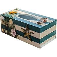 Milopon Tücher Box Kosmetiktücherbox Holz Gewebe Box Tücherbox Kosmetiktücher Maritime Zuhause Deko Kiste (Seestern)