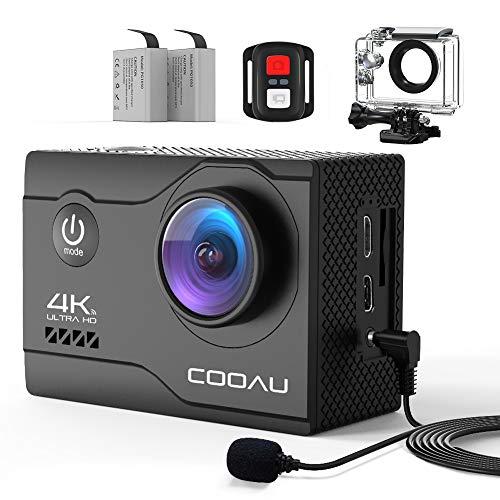 COOAU 4K Action Cam 20MP WiFi Sports Kamera Unterwasserkamera 40m mit Externs Mikrofon Fernbedienung Helmkamera Wasserdicht Digitale Videokamera mit EIS Stabilisierung
