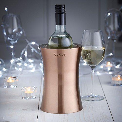 VonShef Weinkuehler Edelstahl doppelwandiger Weinkühler Kühler Halter (Kupfer)