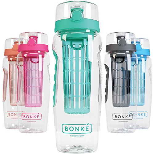 Bonke Fruit Infuser Water Bottle - Free Infused Water Ebook - 3 in 1 - Large 1 litre - BPA Free Plastic & Eco Friendly Rubber Grip with Extra Safe Locking System Prevents Spills & Leaks (Cap Cycling Cotton)