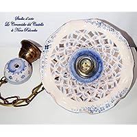 Lampadario Traforato diametro 25 centimetri + Coppetta da applicare a soffitto Linea Fiori Bordo Blu Ceramica Le Ceramiche del Castello Pezzo Unico Handmade Made in Italy