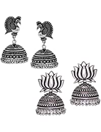 V L IMPEX Oxidized Silver Peacock Style And Lotus Shape Combo Set Of 2 Jhumka Earrings For Women