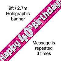40th Birthday Pink Holographic Banner by Signature Balloons