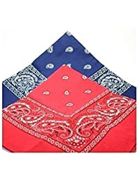 2 BANDANAs 1 navy blue 1 red PAISLEY SCARVES by TC-Accessories