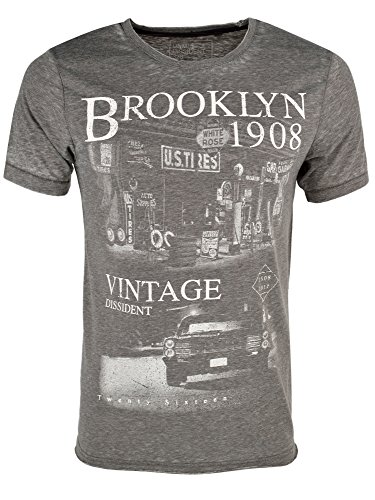 Dissident Herren 'Vindis' Vintage Retro Burnout T-Shirt Vindiss - Rabe Grau