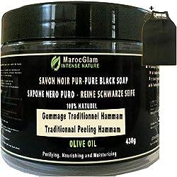 Savon Noir Gommage 430g + Gant Kessa OFFERT, à l'huile d'olive 100% NATUREL, HAMMAM ET SPA, TRADITIONNEL 100% PUR à l'huile d'olive - de la marque MAROC GLAM
