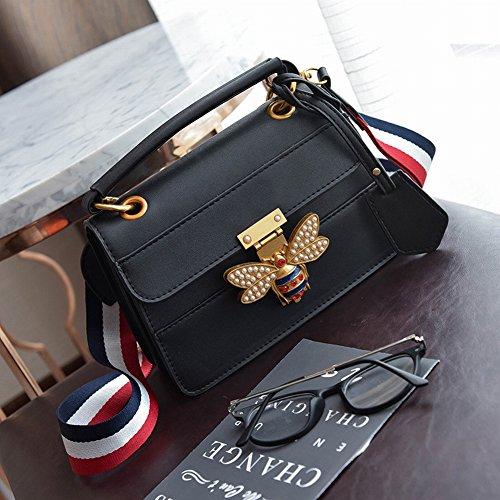 YTTY Weibliche Tasche Hit Farbe Biene Mode Kleine Quadratische Tasche Umhängetasche Pu Schräge Kreuz Handtasche, schwarz
