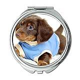 Yanteng Spiegel, Travel Mirror, süße lustige Mops Hund Vodafone Hund, Taschenspiegel, 1 X 2 X Vergrößerung