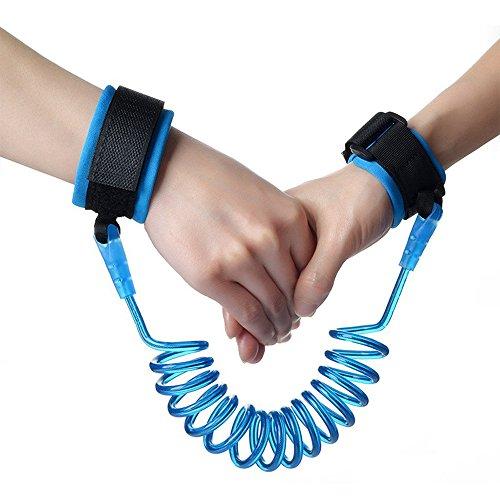 Nincha Toddler Anti Lost Wrist link Kids Elastic Wire Rope Hand Belt Safety Harness Velcro Strap (1,5, Blau)