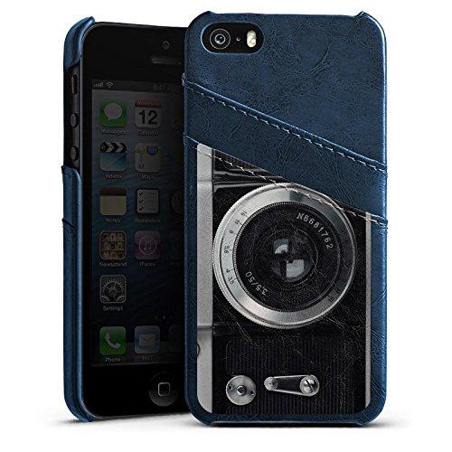 Apple iPhone 3Gs Housse étui coque protection Caméra Photographie Objectif Étui en cuir bleu marine