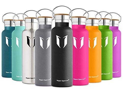 Super Sparrow Doppia Parete in Acciaio Inox coibentato Bottiglia di Acqua - 500ml & 750ml & 1L - Isolante della Borraccia - Perfetto Thermos - Privo di BPA, BPS, ftalati