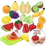 Peradix Corte de Frutas y Alimentos Falsos, Alimentos de Juguetes Cortar Frutas Verduras, Accesorios de Cocina, Temprano Desarrollo Educación Juegos para Niños de 3 o más años