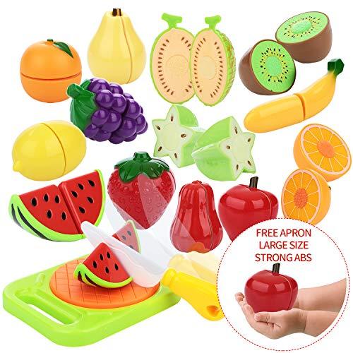 Peradix Schneideobst Spielzeug Kunststoff Lebensmittel Kaufladen Zubehör 14 PCs mit Schneidebretter Schneidermesser und Süße Schütze,,Mehrweg(Obst) -