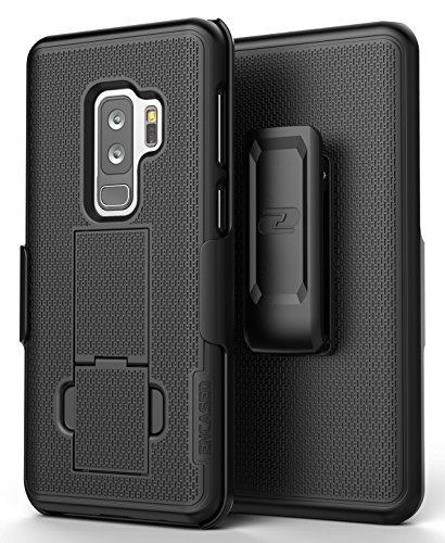 Samsung Galaxy S9 Plus Belt Clip Case - Encased [DuraClip] Slim Fit Holster Shell Combo w/ Rubberized Grip (S9+ 2018 Release) Smooth Black (Belt Slide Holster)