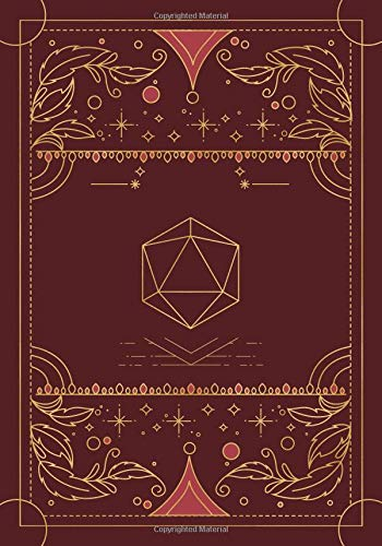 Maroon-design (RPG journal: Mixed paper: Ruled, graph, hex: For role playing gamers: Notes, tracking, mapping, terrain plans: Vintage maroon red dice deco cover design)