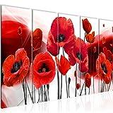Bilder Blumen Mohnblumen Wandbild 150 x 60 cm Vlies - Leinwand Bild XXL Format Wandbilder Wohnzimmer Wohnung Deko Kunstdrucke Rot 5 Teilig - MADE IN GERMANY - Fertig zum Aufhängen 208956a