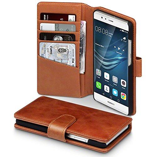 Huawei P9 Case, Terrapin [ECHT LEDER] Brieftasche Case Hülle mit Kartenfächer und Bargeld für Huawei P9 Hülle Cognac