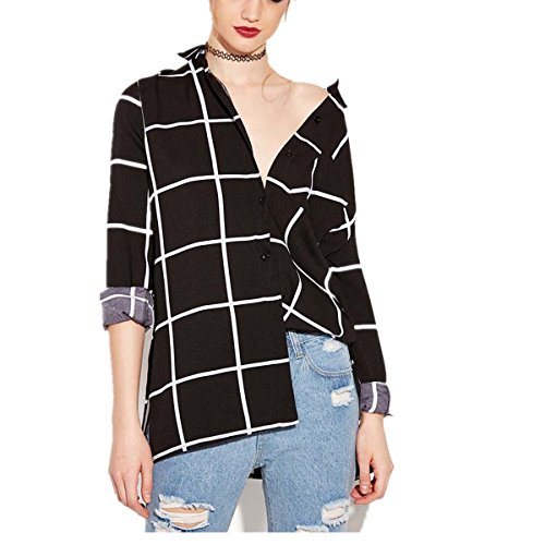 VENMO Frauen Plaid Schwarze und weiße tops Langarmshirts Doppelschicht-Button Design Hemd Damen Klassisches Hemd kariertes Hemd Drehender Kragen Revers Hals Plaid Checker Shirts Blusen (M, Black) (Button Plaid Sleeve)