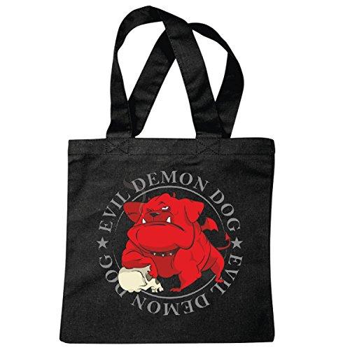 Tasche Umhängetasche Evil Demon Dog Bulldogge Biker Rocker Motorradfahrer Chopper Route 66 Höllenhund Teufel Einkaufstasche Schulbeutel Turnbeutel in Schwarz