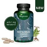 MELATONINA Vegavero® | 120 capsule | con Valeriana, Passiflora, Lavanda e Bacopa Monnieri | Rest & Relax Complex | Vegan