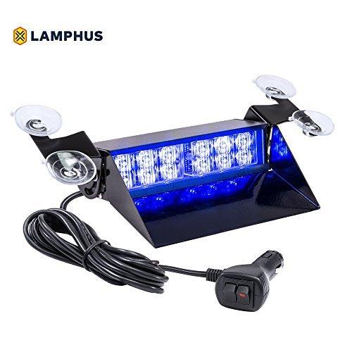 lamphus solarblast sbwl26Einsatzfahrzeug LED Dash Light [12W LED] [32Flash Mustern] [höhenverstellbar Aufhängung] [mehrere Farben erhältlich]–Strobe Licht für Armaturenbrett, Deck & Windschutzscheibe (Dash Emergency Lights)