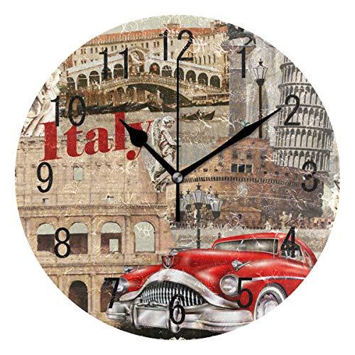 Domoko Home Decor Vintage Italien Stadtbild Rot Acryl Rund Auto Wanduhr Geräuschlos Silent Uhr...
