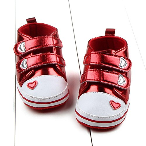 Kingko® 0-18 Monate Säugling Babys weiche Sohle Liebes-Herz-PU-Leder-Sneakers Rot