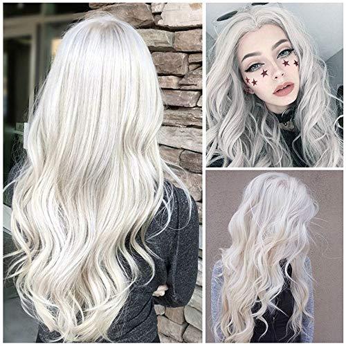Rosennie Frauen natürliche weiße lange lockige Lace Front Perücke synthetisches gewelltes Haar volle Perücke mit langem seidigen glatten Kunsthaar, hitzebeständig, für Cosplay (Weiß) - Weiße Lange Perücke Für Erwachsene