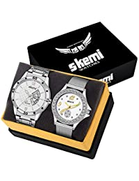 Skemi Analog Round White Dial Men-Woman Watch/Fashionable Couple Watch/Watches For Couple Combo-060+