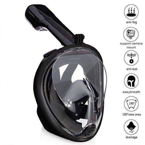 Zenoplige Schnorchelmaske Tauchmaske mit 180° Breitsicht mit Schnorchel und Anti-Beschlag, Schwarz L/XL