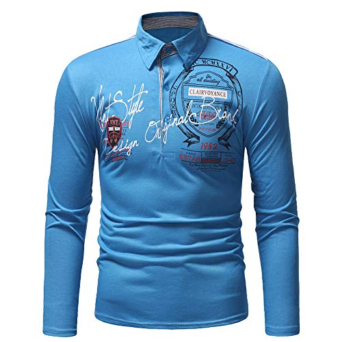 Xmiral Herren Sweatshirt Casual Slim Print Langarm Umlegekragen Plain Polo Shirt (XXL,Blau) - Hugo Smoking Boss