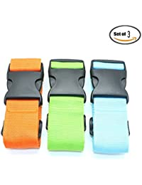 Pack Of 3 Luggage Straps Suitcase Belt Travel Accessories, Orange & Green & Blue By Ids