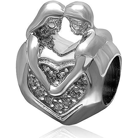 Soulbead amante paio Hug Love ciondolo in argento Sterling 925con zirconia cubica trasparente Perlina a forma di cuore per San Valentino Anniversario regalo braccialetto europea
