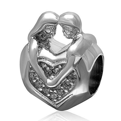 Soulbead ciondolo a forma di cuore con amanti, in argento sterling 925 con zirconi trasparenti, regalo per san valentino o anniversario