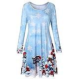 MRULIC Damen Blusenkleid Abendkleid Knielang Kleider Weihnachts Winterrock Festliches Kleid Mehrfarbig Verfügbar Schön Neujahr Herbst und Winter Kleid (EU-38/CN-L, L-Hellblau)